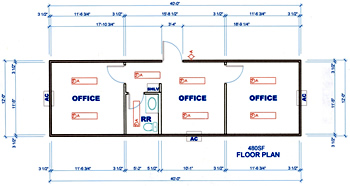 Custom Structure - Blast Resistant Office - 12' x 40' Skid Mounted